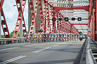 peloton over the Spijkenisserbrug<br /> <br /> 3rd World Ports Classic 2014<br /> stage 1: Rotterdam - Antwerpen 195km