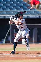 Scottsdale Scorpions center fielder Drew Ferguson (18), of the Houston Astros organization, at bat during an Arizona Fall League game against the Peoria Javelinas at Peoria Sports Complex on November 15, 2018 in Mesa, Arizona. Peoria defeated Scottsdale 2-1. (Zachary Lucy/Four Seam Images)