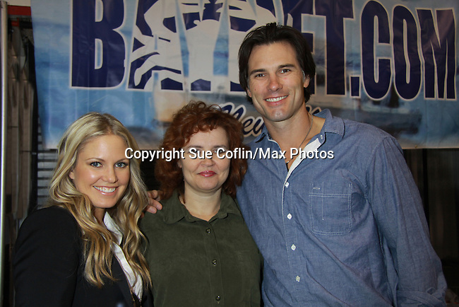 Jackie poses with One Life To Live Terri Conn (ATWT) and Austin Peck (ATWT & Days) attended the Home & Leisure Show on October 16, 2011 at the Capital Clubhouse, Waldorf, Maryland. Austin and Terri signed autographs, took photos and roamed around the show and had fun.  (Photo by Sue Coflin/Max Photos)