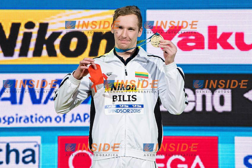 BILIS Simonas LTU Gold Medal<br /> Men's 100m Freestyle<br /> 13th Fina World Swimming Championships 25m <br /> Windsor  Dec. 11th, 2016 - Day06 Finals<br /> WFCU Centre - Windsor Ontario Canada CAN <br /> 20161211 WFCU Centre - Windsor Ontario Canada CAN <br /> Photo &copy; Giorgio Scala/Deepbluemedia/Insidefoto
