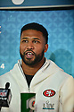MIAMI, FL - JANUARY 27: San Francisco 49ers Defensive Tackle DeForest Buckner (#99) answers questions from the media during the NFL Super Bowl ( LIV)(54) Opening Night at Marlins Park on January 27, 2020  in Miami, Florida. ( Photo by Johnny Louis / jlnphotography.com )