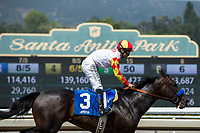 ARCADIA, CA  APRIL 7: #3 Heck Yeah, ridden by Mike Smith,wins the Echo Eddie Stakes on April 7, 2018 at Santa Anita Park Arcadia, CA.  (Photo by Casey Phillips/ Eclipse Sportswire/ Getty Images)