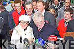 LABOUR: The Labour party leader Eamon Gilmore with north Kerry candidate Arthur Spring taking to Leanne O'Connor on the streets of Tralee on Friday.