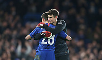 Chelsea's Kepa Arrizabalaga and Cesar Azpilicueta celebrate at the end of the game<br /> <br /> Photographer Rob Newell/CameraSport<br /> <br /> The Emirates FA Cup Fifth Round - Chelsea v Liverpool - Tuesday 3rd March 2020 - Stamford Bridge - London<br />  <br /> World Copyright © 2020 CameraSport. All rights reserved. 43 Linden Ave. Countesthorpe. Leicester. England. LE8 5PG - Tel: +44 (0) 116 277 4147 - admin@camerasport.com - www.camerasport.com
