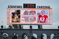 STANFORD, CA - NOVEMBER 15, 2014:  Blake Lueders on the scoreboard during Stanford's game against Utah. The Utes defeated the Cardinal 20-17 in overtime.