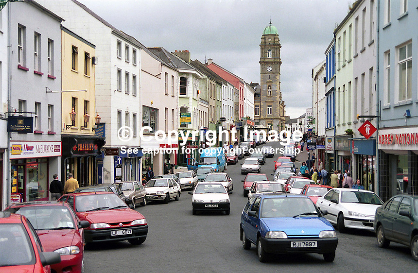 Church Street, Enniskillen, Co Fermanagh, N Ireland, UK - looking towards the Town Hall. Ref: 199905035..Copyright Image from Victor Patterson, 54 Dorchester Park, Belfast, UK, BT9 6RJ..Tel: +44 28 9066 1296.Mob: +44 7802 353836.Voicemail +44 20 8816 7153.Skype: victorpattersonbelfast.Email: victorpatterson@mac.com.Email: victorpatterson@ireland.com (back-up)..IMPORTANT: If you wish to use this image or any other of my images please go to www.victorpatterson.com and click on the Terms & Conditions. Then contact me by email or phone with the reference number(s) of the image(s) concerned.