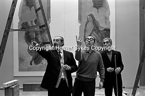 Hanging the Frescoes from Florence Arts Council Exhibition Hayward Gallery London 1969.<br />