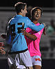 Manhasset goalie Jamie Weiss, left, and No. 13 Thomas Clejan celebrate after their team's 2-0 win over Hewlett in a Nassau County varsity boys' soccer game at Manhasset High School on Thursday, October 15, 2015.<br /> <br /> James Escher