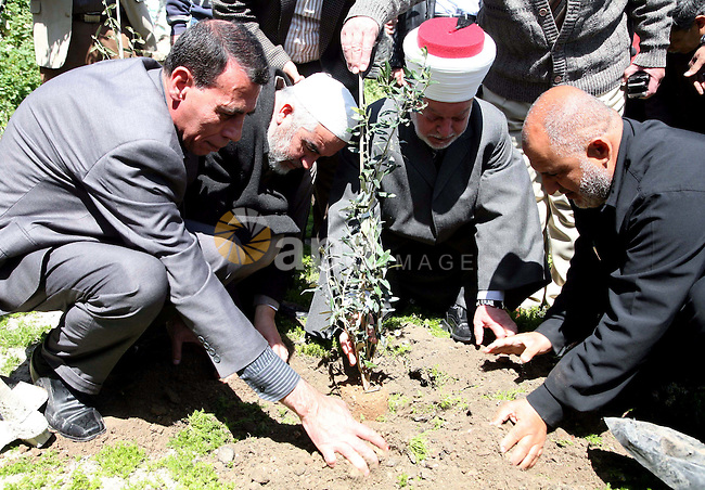 """Sheikh Raed Salah and other Palestinians plant olive trees at the Mount of Olives, in East Jerusalem to mark the Land Day on March 30,2011, as hundreds of people across Israel and Palestinian territories were holding a series of rallies marking """"Land Day,"""" recalling an incident in 1976 when Israeli troops shot and killed six people during protests against land confiscations. Photo by Sliman Khader.."""