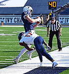 October 26th 2019: WR Reed Klubnik [14] makes one his many catches as the Yale Bulldogs up their record to 5-1 defeating the Quakers of Penn 46-41.  The Ivy League match up was at the Yale bowl in New Haven, Connecticut.  Dan Heary/ESW/CSM