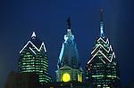 Philadelphia, City Hall, William Penn Statue and Skyscraper Buildings, BNY Mellon Center, Bell Atlantic Tower, Night Lights