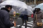 People with umbrellas crossing street in the rain, Tokyo, Japan.