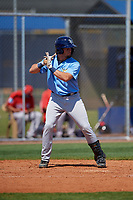 Tampa Bay Rays Dawson Dimon (63) bats during a Minor League Spring Training game against the Boston Red Sox on March 25, 2019 at the Charlotte County Sports Complex in Port Charlotte, Florida.  (Mike Janes/Four Seam Images)