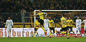 February 5th 2019, Dortmund, Germany, German DFB Cup round of 16, Borussia Dortmund versus SV Werder Bremen;   The goal for 1-1 from the free kick, of Marco REUS, BVB