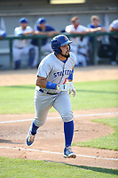 Argenis Raga (22) of the Stockton Ports runs to first base during a game against the Rancho Cucamonga Quakes at Loan Mart Field on July 16, 2017 in Rancho Cucamonga, California. Rancho Cucamonga defeated Stockton 9-1. (Larry Goren/Four Seam Images)
