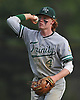 Nicholas McTighe #4, Holy Trinity second baseman, flips to first base for an out in the bottom of the third inning of a CHSAA varsity baseball game against St. Dominic at Charles Wang Athletic Complex in Muttontown on Friday, Apr. 22, 2016. St. Dominic won by a score of 4-0.