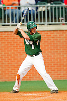 Shane Basen (8) of the Charlotte 49ers at bat against the Virginia Commonwealth Rams at Robert and Mariam Hayes Stadium on March 30, 2013 in Charlotte, North Carolina.  The 49ers defeated the Rams 9-8 in game one of a double-header.  (Brian Westerholt/Four Seam Images)