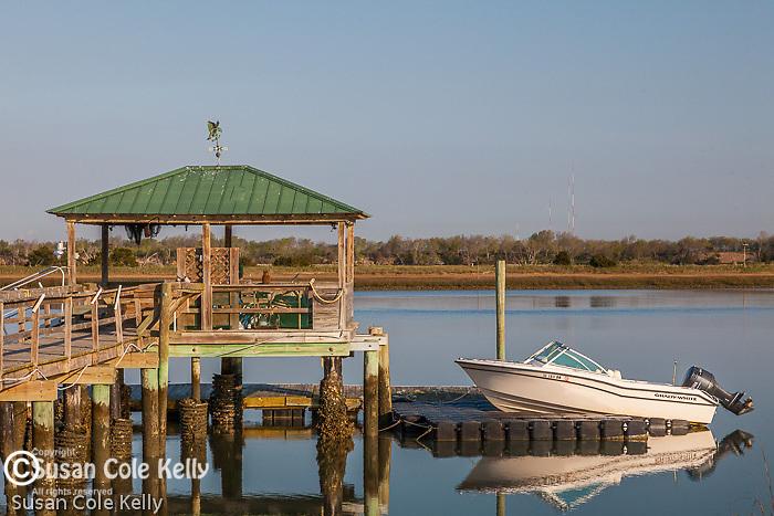 Piers span the marsh at Isle of Palms, South Carolina, USA