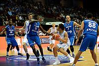 GRONINGEN - Basketbal, Donar - Fribourg, tweede voorronde Champions League, seizoen 2018-2019, 25-09-2018,  Donar speler Sean Cunningham met Fribourg  speler  Babacan Toure
