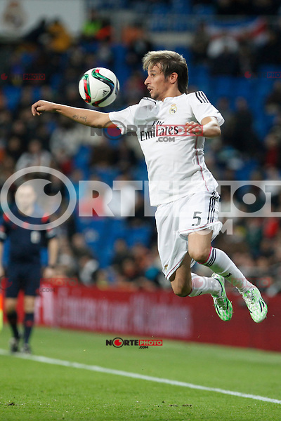 Real Madrid´s Fabio Coentrao during Spanish King Cup match between Real Madrid and Cornella at Santiago Bernabeu stadium in Madrid, Spain.December 2, 2014. (NortePhoto/ALTERPHOTOS/Victor Blanco)
