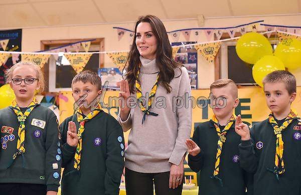 14 December 2016 - Norfolk, England - Princess Kate, reads the Scouts promise during a Cub Scout Pack meeting with cubs from the Kings Lynn District, in Kings Lynn, Norfolk, to celebrate 100 years of Cubs. Photo Credit: Alpha Press/AdMedia