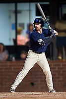 Mobile BayBears designated hitter Riley Unroe (19) at bat during a game against the Chattanooga Lookouts on May 5, 2018 at Hank Aaron Stadium in Mobile, Alabama.  Chattanooga defeated Mobile 11-5.  (Mike Janes/Four Seam Images)