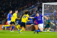 9th November 2019; King Power Stadium, Leicester, Midlands, England; English Premier League Football, Leicester City versus Arsenal; Caglar Soyuncu of Leicester City is brought down in the box by Matteo Guendouzi of Arsenal - Strictly Editorial Use Only. No use with unauthorized audio, video, data, fixture lists, club/league logos or 'live' services. Online in-match use limited to 120 images, no video emulation. No use in betting, games or single club/league/player publications