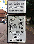 Germany, Buxtehude -- August 26, 2017 -- Traffic sign with hare and hedgehog, two famous fairy-tale figures -- © HorstWagner.eu
