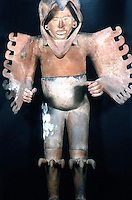 World Civilization:  Aztec--Eagle Warrior--life-size clay sculpture found inside the precinct of the Eagle Warriors great Temple excavations.  Brian Fagan, KINGDOMS OF GOLD.