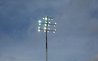 Floodlights are switched on due to the bad weather during the Sky Bet League 2 match between Notts County and Wycombe Wanderers at Meadow Lane, Nottingham, England on 28 March 2016. Photo by Andy Rowland.