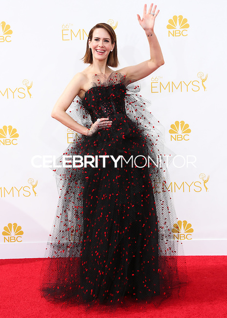 LOS ANGELES, CA, USA - AUGUST 25: Actress Sarah Paulson arrives at the 66th Annual Primetime Emmy Awards held at Nokia Theatre L.A. Live on August 25, 2014 in Los Angeles, California, United States. (Photo by Celebrity Monitor)