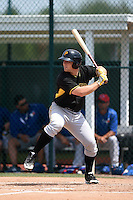 Pittsburgh Pirates catcher Taylor Gushue (18) during a minor league spring training game against the Toronto Blue Jays on March 26, 2015 at Pirate City in Bradenton, Florida.  (Mike Janes/Four Seam Images)