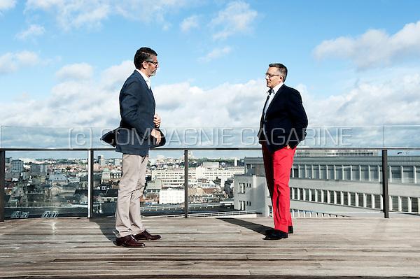 Gilles Bindels and Yves Baudechon, founders of the Social Lab social agency (Belgium, 15/09/2015)