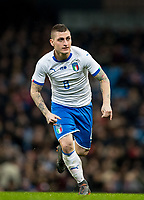 Marco Verratti (Paris Saint-Germain) of Italy during the International Friendly match between Argentina and Italy at the Etihad Stadium, Manchester, England on 23 March 2018. Photo by Andy Rowland.