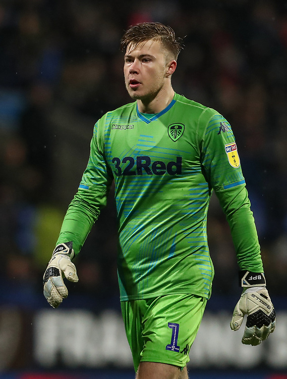 Leeds United's goalkeeper Bailey Peacock-Farrell<br /> <br /> Photographer Andrew Kearns/CameraSport<br /> <br /> The EFL Sky Bet Championship - Bolton Wanderers v Leeds United - Saturday 15th December 2018 - University of Bolton Stadium - Bolton<br /> <br /> World Copyright © 2018 CameraSport. All rights reserved. 43 Linden Ave. Countesthorpe. Leicester. England. LE8 5PG - Tel: +44 (0) 116 277 4147 - admin@camerasport.com - www.camerasport.com