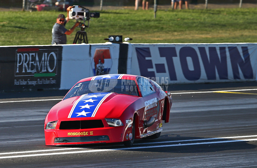 Jun. 1, 2013; Englishtown, NJ, USA: NHRA pro mod driver Steve Matusek gets sideways during qualifying for the Summer Nationals at Raceway Park. Mandatory Credit: Mark J. Rebilas-