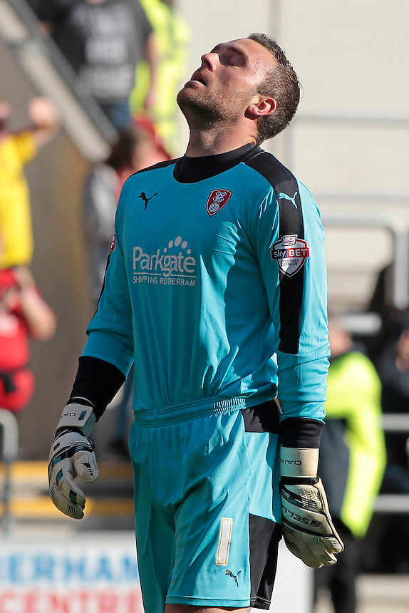 Rotherham United's Lee Camp shows his relief at Emmanuel Ledesma's winner<br /> <br /> Photographer David Shipman/CameraSport<br /> <br /> Football - The Football League Sky Bet Championship - Rotherham United v Cardiff City - Saturday 19th September 2015 - AESSEAL New York Stadium - Rotherham<br /> <br /> &copy; CameraSport - 43 Linden Ave. Countesthorpe. Leicester. England. LE8 5PG - Tel: +44 (0) 116 277 4147 - admin@camerasport.com - www.camerasport.com