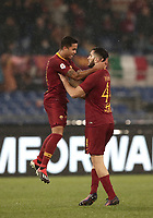 Football, Serie A: AS Roma - Genoa, Olympic stadium, Rome, December 16, 2018. <br /> Roma&rsquo;s Justin Kluivert (l) celebrates after scoring with his teammate Kostas Manolas (r) during the Italian Serie A football match between Roma and Genoa at Rome's Olympic stadium, on December 16, 2018.<br /> UPDATE IMAGES PRESS/Isabella Bonotto