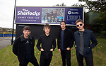 The Sherlocks with the billboard on Penistone Road in Sheffield promoting their new album Under Your Sky, Sheffield, United Kingdom, 10th October 2019. Photo by Glenn Ashley.