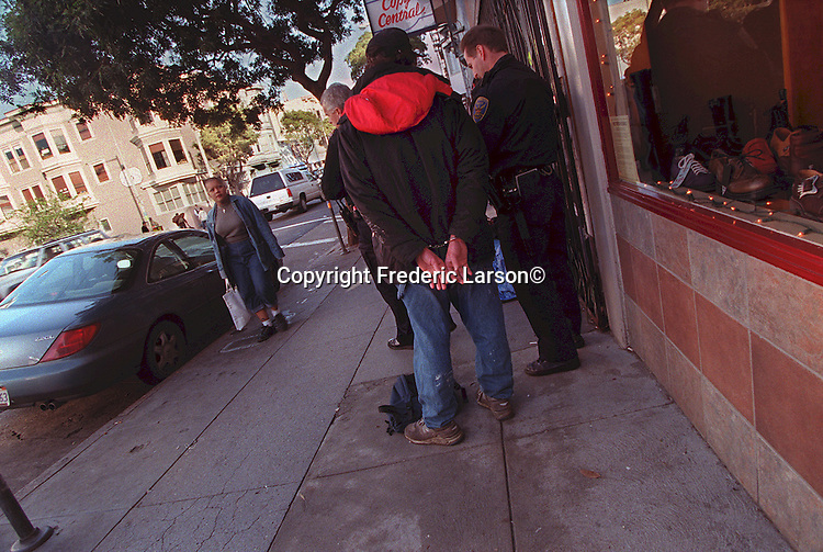 The SFPD arrested a homeless person on Haight Street for drinking in public In San Francisco, California.