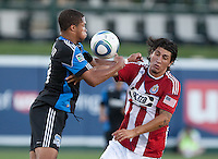 Ryan Johnson (left) goes for the ball against Carlos Borja (right). The San Jose Earthquakes defeated Chivas USA 6-5 in shootout after drawing 0-0 in regulation time to win the inagural Sacramento Cup at Raley Field in Sacramento, California on June 12, 2010.