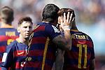 FC Barcelona's Leo Messi, Luis Suarez and Neymar Santos Jr celebrate goal during La Liga match. May 14,2016. (ALTERPHOTOS/Acero)