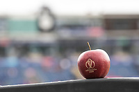 A CWC 2019 branded Apple sits on the advertising top during Afghanistan vs Sri Lanka, ICC World Cup Cricket at Sophia Gardens Cardiff on 4th June 2019