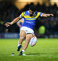 Leeds Rhinos' Kallum Watkins slots a conversion<br /> <br /> Photographer Alex Dodd/CameraSport<br /> <br /> Betfred Super League Round 5 - Leeds Rhinos v Hull FC - Thursday 8th March 2018 - Headingley Carnegie Stadium - Leeds<br /> <br /> World Copyright &copy; 2018 CameraSport. All rights reserved. 43 Linden Ave. Countesthorpe. Leicester. England. LE8 5PG - Tel: +44 (0) 116 277 4147 - admin@camerasport.com - www.camerasport.com