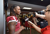 NWA Democrat-Gazette/BEN GOFF • @NWABENGOFF<br /> Will Gragg, freshman tight end from Dumas, speaks to the media on Sunday Aug. 9, 2015 during Arkansas football media day at the Fred W. Smith Football Center in Fayetteville.
