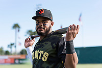 San Jose Giants outfielder Heliot Ramos (13) poses for a photo before a California League game against the Visalia Rawhide at San Jose Municipal Stadium on April 13, 2019 in San Jose, California. (Zachary Lucy/Four Seam Images)