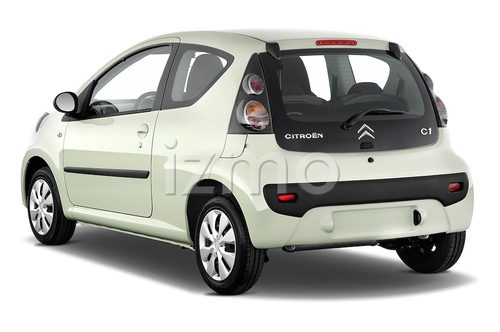 Rear three quarter view of a 2009 - 2012 Citroen C1 Airplay 3-Door Hatchback.