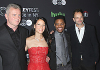 NEW YORK, NY- OCTOBER 08: Aidan Quinn, Lucy Liu, Jon Michael Hill, Jonny Lee Miller at PaleyFest New York 2016 presents Elementary at the Paley Center for Media in New York.October 08, 2016. Credit: RW/MediaPunch