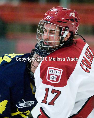 Stephane Da Costa (Merrimack - 24), Rence Coassin (Harvard - 17) - The visiting Merrimack College Warriors defeated the Harvard University Crimson 3-1 (EN) at Bright Hockey Center on Tuesday, November 30, 2010.