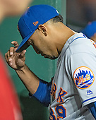 New York Mets relief pitcher Edwin Diaz (39) walks through the dugout after giving up the game-winning home run to Washington Nationals catcher Kurt Suzuki (28) in the ninth inning at Nationals Park in Washington, D.C. on Tuesday, September 3, 2019.  The Nationals won the game 11-10.<br /> Credit: Ron Sachs / CNP<br /> (RESTRICTION: NO New York or New Jersey Newspapers or newspapers within a 75 mile radius of New York City)